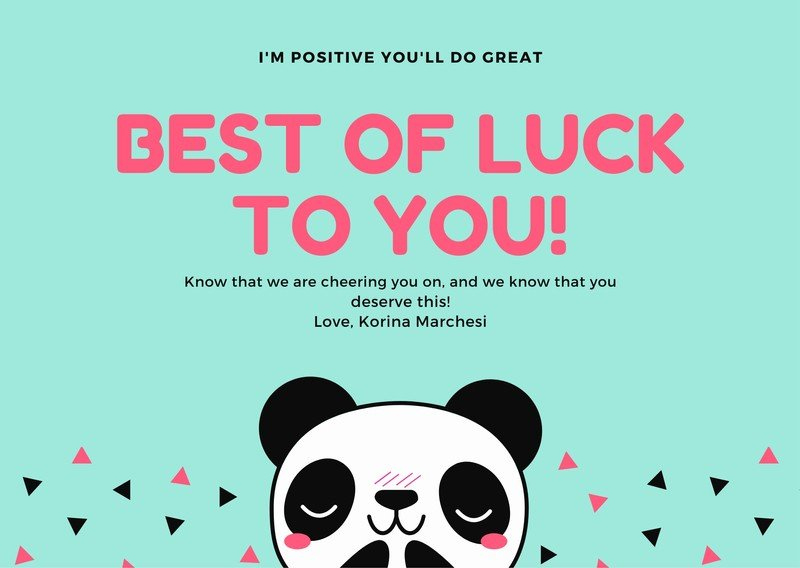 Free Good Luck Cards Templates To Customize | Canva With Regard To Quality Good Luck Card Template