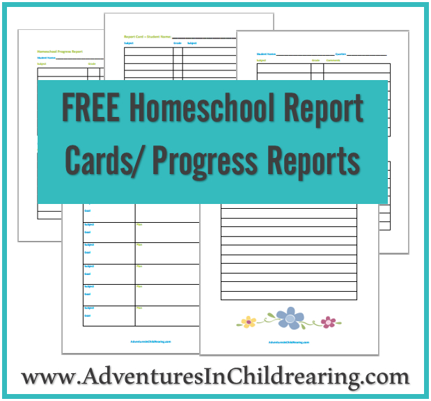 Free Homeschool Progress Report Report Card Printables For Quality Homeschool Report Card Template Middle School