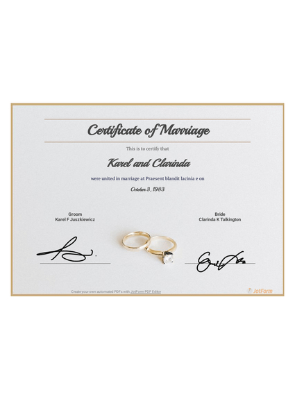 Free Marriage Certificate Template Pdf Templates | Jotform Within Printable Certificate Of Marriage Template