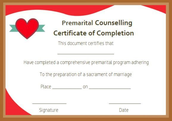 Free Premarital Counseling Certificate Of Completion Within Premarital Counseling Certificate Of Completion Template