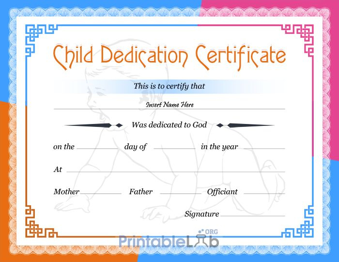 Free Printable Baby Dedication Certificate Format In Dodger Regarding 11+ Baby Dedication Certificate Template