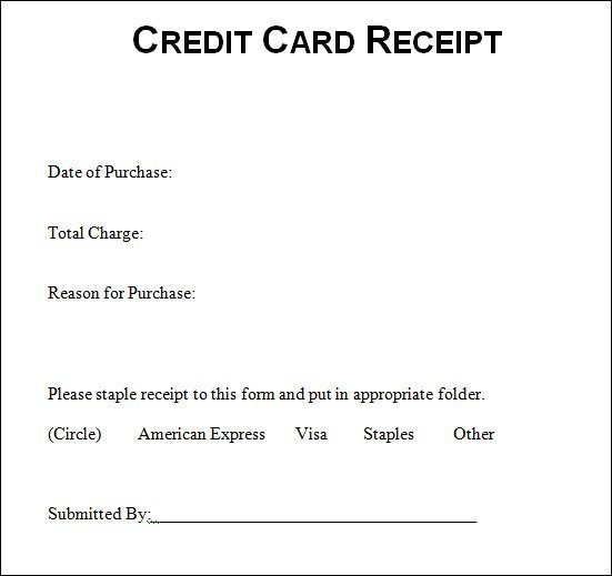Free Printable Credit Card Receipt Template [Pdf, Word Doc With Credit Card Receipt Template