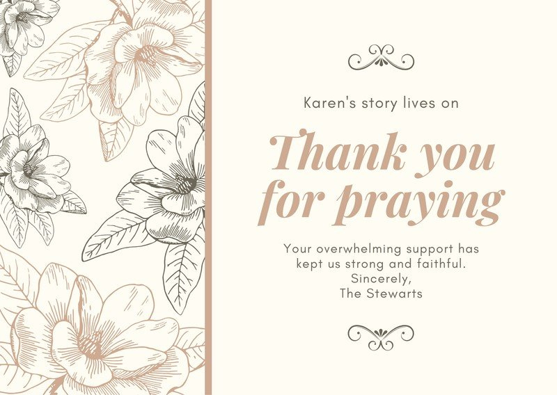 Free, Printable Funeral Thank You Card Templates To Within Sympathy Thank You Card Template