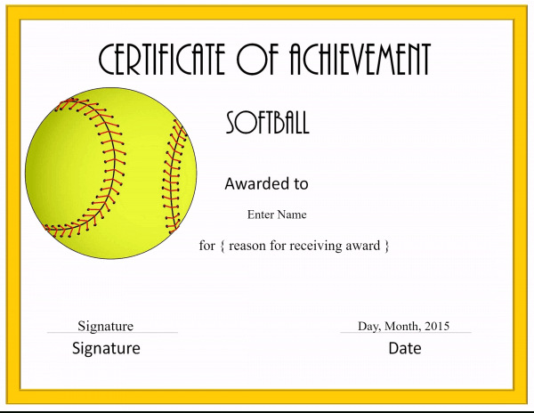 Free Softball Certificate Templates Customize Online In Quality Free Softball Certificate Templates