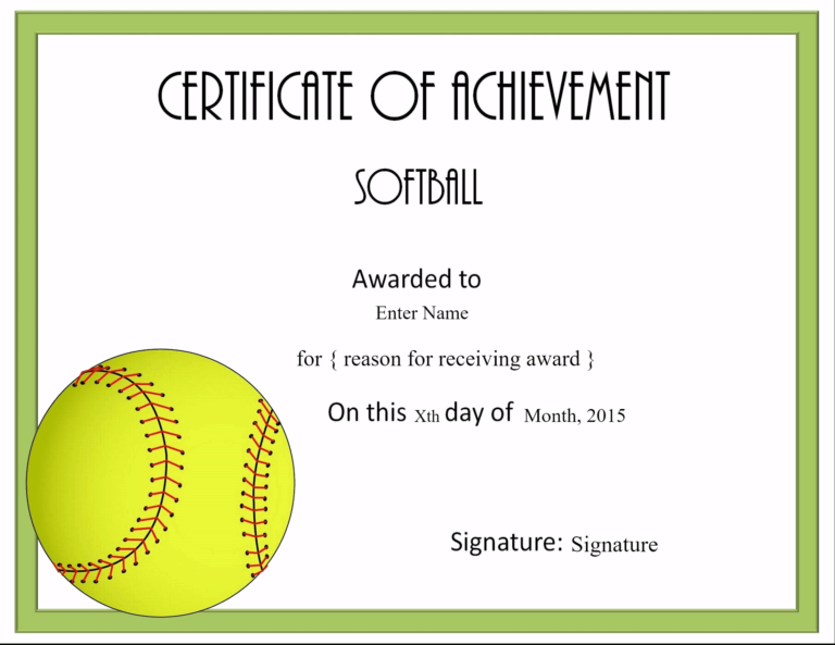 Free Softball Certificate Templates Customize Online With In Quality Free Softball Certificate Templates