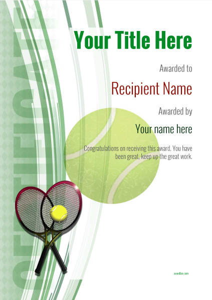 Free Tennis Certificate Templates Add Printable Badges Pertaining To Quality Tennis Gift Certificate Template