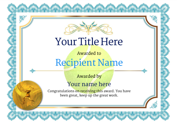 Free Tennis Certificate Templates Add Printable Badges Pertaining To Tennis Gift Certificate Template
