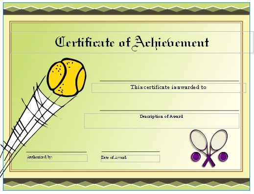 Free Tennis Certificates On Womens Tennis World | Gift In Quality Tennis Gift Certificate Template