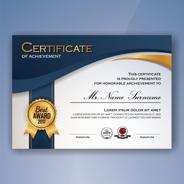 Free Vector   Certificate Of Achievement Template With Quality Certificate Of Accomplishment Template Free