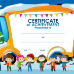 Free Vector | Certificate Template With Children In Winter With Regard To Children'S Certificate Template