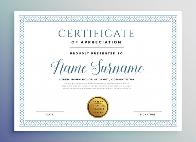Free Vector | Classic Certificate Award Template Throughout Printable Template For Certificate Of Award
