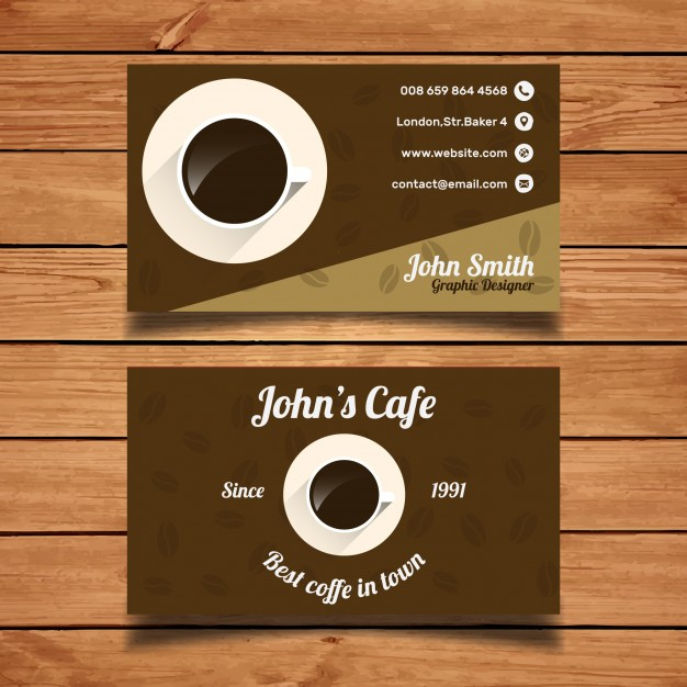 Free Vector | Coffee Business Card Template For Coffee Business Card Template Free