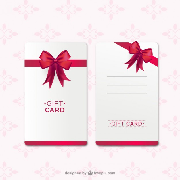 Free Vector | Gift Card Template With Red Ribbon Inside Professional Present Card Template