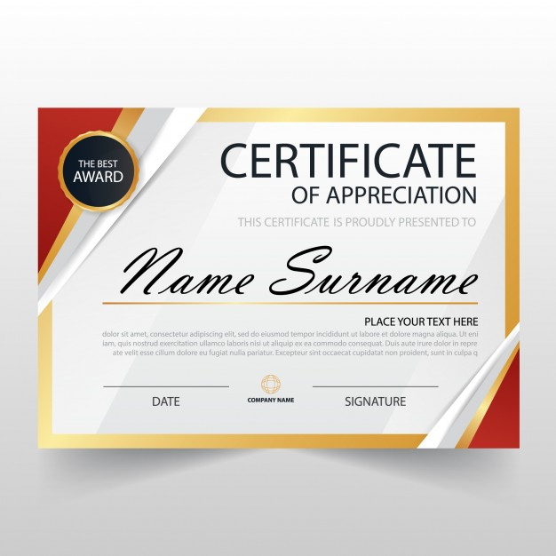Free Vector | Modern Certificate Of Appreciation Template In Free Free Template For Certificate Of Recognition