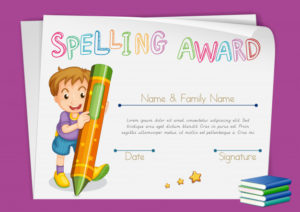 Free Vector   Spelling Award Certificate Template With Kids With Printable Certificate Of Achievement Template For Kids