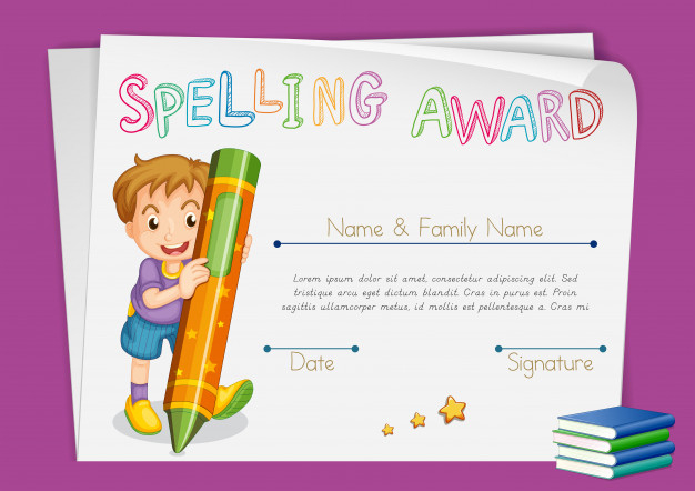 Free Vector | Spelling Award Certificate Template With Kids With Printable Certificate Of Achievement Template For Kids