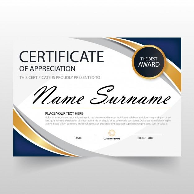 Free Vector | Wavy Certificate Of Appreciation Template Regarding Free Template For Certificate Of Recognition