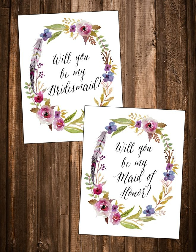 """Free """"Will You Be My Bridesmaid?"""" Printables! 