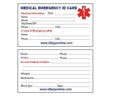 Free+Printable+Medical+Wallet+Id+Cards | Medical Emergency Within 11+ Medical Alert Wallet Card Template