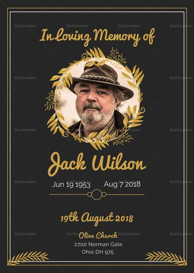 Funeral Invitation Card Template $15 Formats Included : Ms Pertaining To Death Anniversary Cards Templates