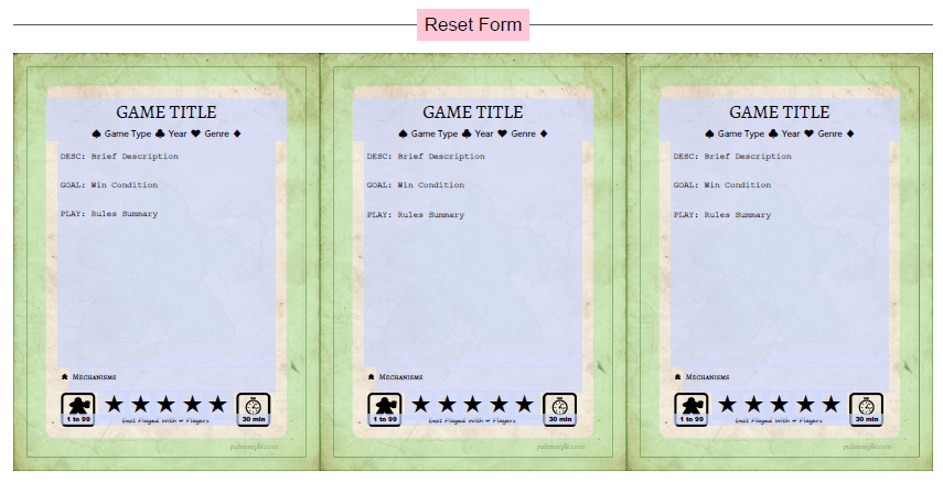 Game Cards Template | Pub Meeple For Template For Game Cards