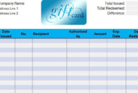 Gift Card Sheet My Excel Templates Pertaining To Gift Certificate Log Template