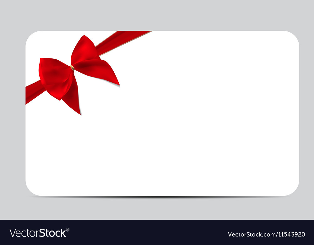 Gift Card Template With Red Silk Ribbon And Bow Vector Image Regarding Professional Present Card Template