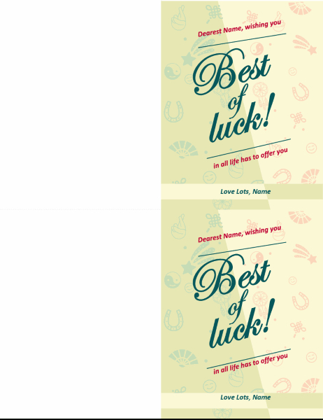 Good Luck Card Throughout Quality Good Luck Card Template