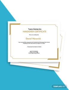 Handover Certificate Template Psd | Ai | Id | Word | Pages Intended For Professional Handover Certificate Template