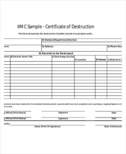 Hard Drive Destruction Certificate Template (2) Templates In Quality Free Certificate Of Destruction Template