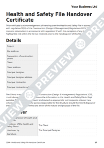 Health And Safety File Handover Certificate Cdm Template Throughout Handover Certificate Template