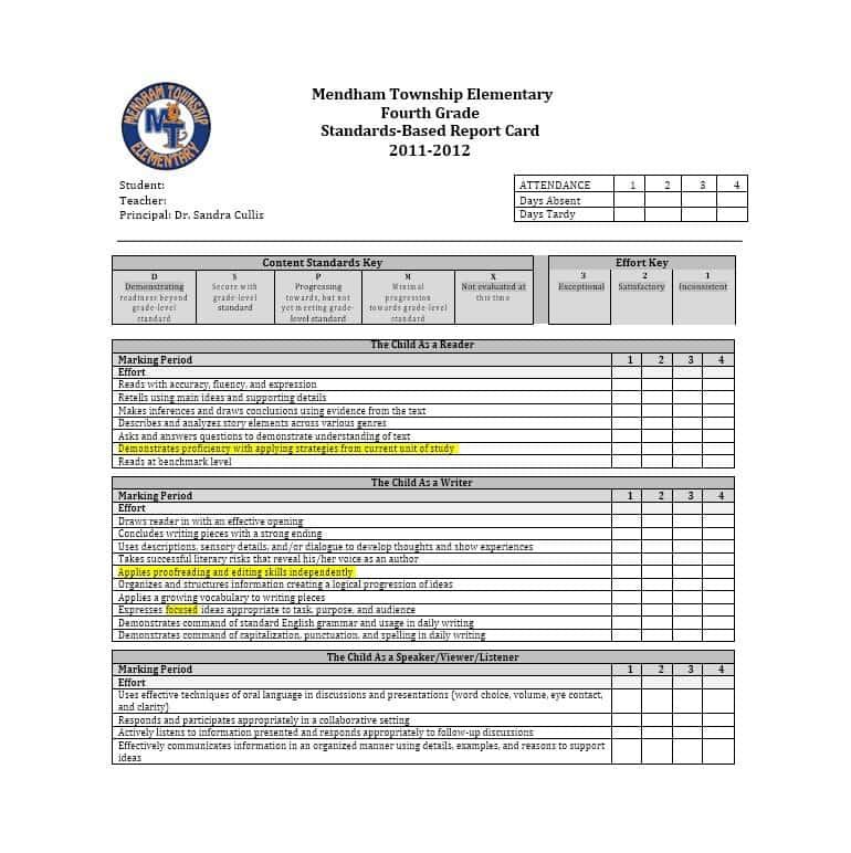 High School Student Report Card Template (1) Templates Pertaining To Fake Report Card Template
