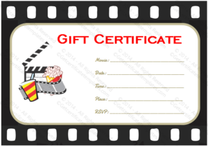 Holiday Gift Certificate Template (Movie Tickets, #5531) In In Movie Gift Certificate Template