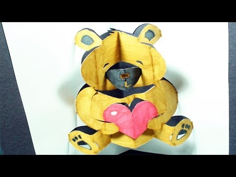 How To Make A Teddy Bear: Pop Up Card | Free Template (Kirigami 3D) Valentine'S Day Greeting! With Regard To Free Teddy Bear Pop Up Card Template Free