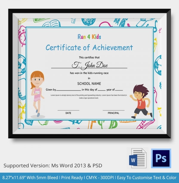 Kids Certificate Template 13+ Pdf, Psd, Vector Format Inside Certificate Of Achievement Template For Kids