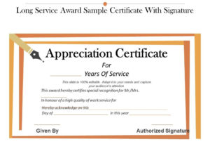 Long Service Award Sample Certificate With Signature In Free Recognition Of Service Certificate Template