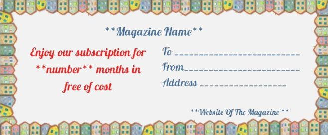 Magazine Subscription Gift Certificate Template (1 In Professional Magazine Subscription Gift Certificate Template