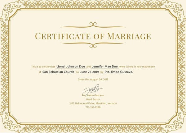 Marriage Certificate Template 12+ Word, Pdf, Psd Format Pertaining To Printable Certificate Of Marriage Template