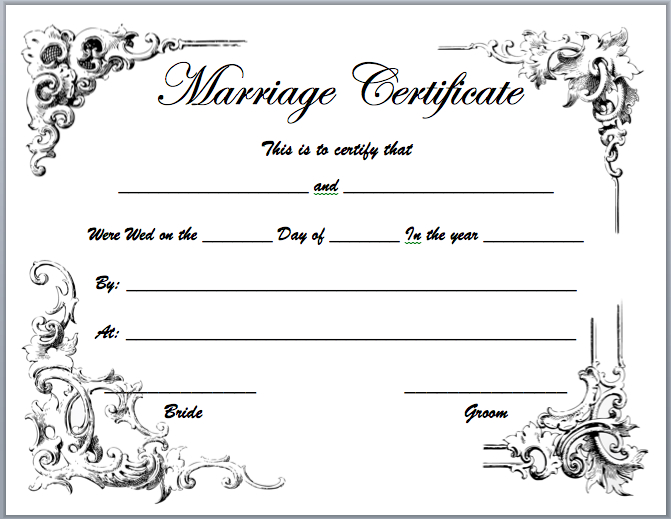 Marriage Certificate Templates Microsoft Word Templates With Certificate Of Marriage Template