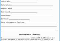 Marriage Certificate Translation From Spanish To English With 11+ Spanish To English Birth Certificate Translation Template