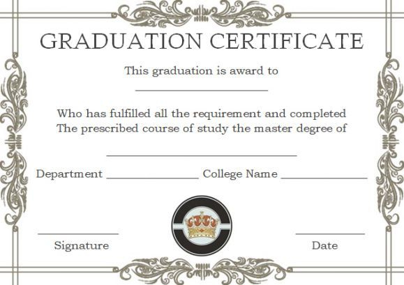 Masters Degree Certificate Templates | Degree Certificate Within Professional College Graduation Certificate Template