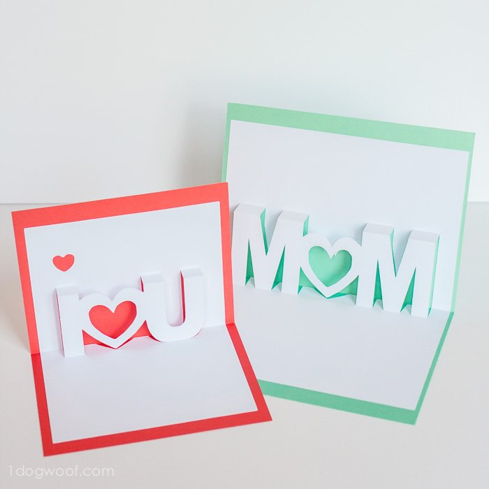 Mom, I Love You Pop Up Cards With Free Silhouette Cut Files With I Love You Pop Up Card Template