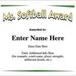 Ms. Softball Award Certificate Template Fast Pitch And Slow Throughout Softball Award Certificate Template