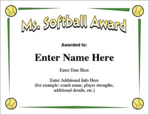Ms. Softball Award Certificate Template Fast Pitch And Slow Throughout Softball Award Certificate Template