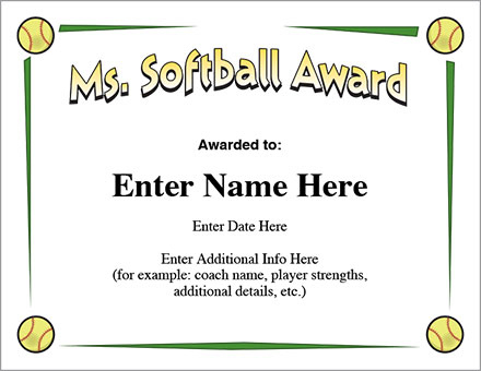 Ms. Softball Award Certificate Template Fast Pitch And Slow With Regard To Quality Free Softball Certificate Templates