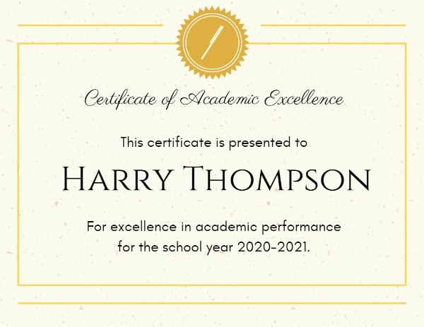 Online Academic Excellence Certificate Template | Fotor Within 11+ Academic Award Certificate Template