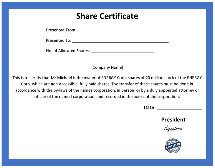 Ordinary Share Certificate Template With Regard To Best Template Of Share Certificate