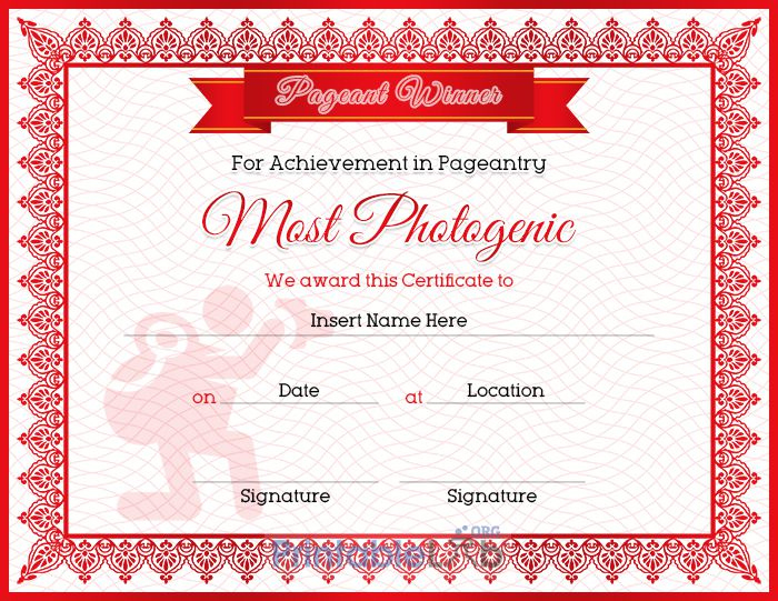 Pageant Most Photogenic Achievement Certificate Sample In In Pageant Certificate Template