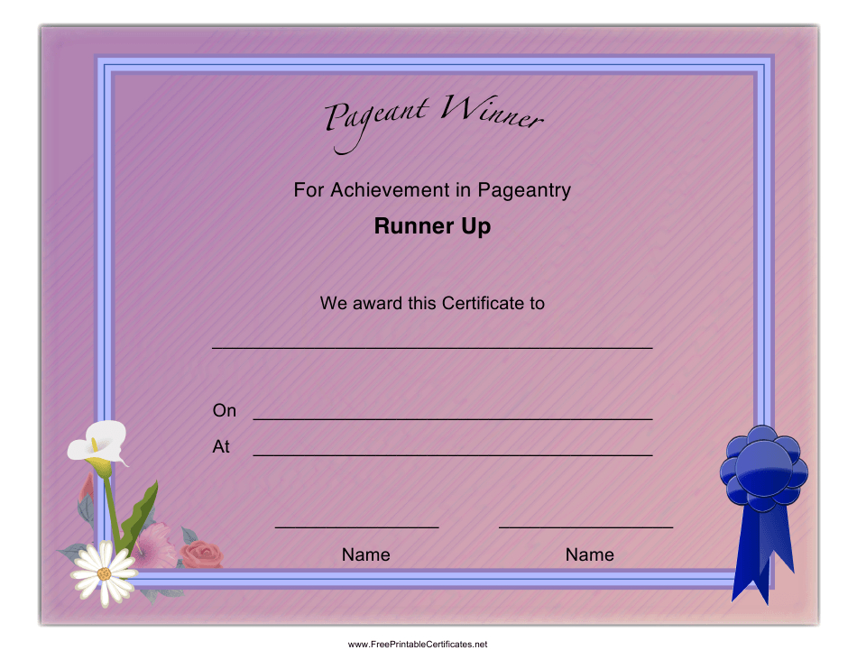 Pageant Runner Up Achievement Certificate Template Download Within Pageant Certificate Template