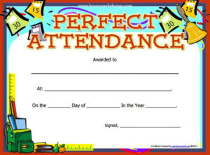 Perfect Attendance Certificate Template | Free Printable Throughout Printable Perfect Attendance Certificate Template